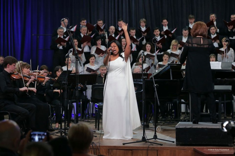 Gina Williams of Coquitlam performing in Kiev last month.